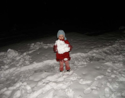 Schneemaus bauen mit Oma
