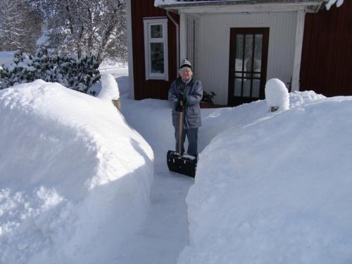 unsere Nachbarin beim Schippen